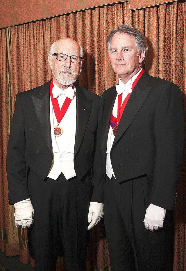 Former Beaux Arts king Gene Rainbolt and his son David Rainbolt who was crowned 2012 king.