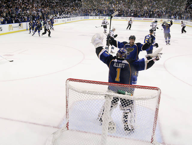 St. Louis Blues defenseman Alex Pietrangelo celebrates with goaltender Brian Elliott as time expires against the San Jose Sharks in Game 5 of an NHL Stanley Cup first-round hockey playoff series, Saturday, April 21, 2012, in St. Louis. The Blues won 3-1 and won the series 4-1. (AP Photo/St. Louis Post-Dispatch, Chris Lee) EDWARDSVILLE INTELLIGENCER OUT; THE ALTON TELEGRAPH OUT