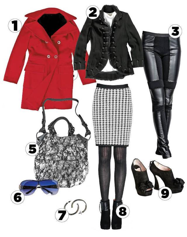 Contemporary and Classic. 1. Gucci rhinestone accent sunglasses 2. Orany silver and black shoulder bag  3. Zelda military jacket  Nicole Miller winter white blouse 4. Red Versace wool peacoat 5. Claudia Labao silver hoop earrings  6. BCBG black leather-look leggings 7. Pink Tartan power stretch skirt  8. Ella Moss suede bootie  9. Miu Miu black suede bootie Items one through 7 sold at Ruth Meyers. Item 8 sold at The Lime Leopard. Item 9 sold at Balliets. Photo by Chris Landsberger, The Oklahoman. <strong></strong>