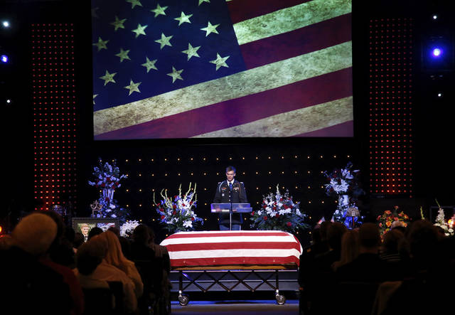 1st Lt. David C. Swanson of Yukon shares personal remembrances of Rex Scad, as a fellow soldier and as a friend. Celebration of Life service  for US Army SSgt. Rex L. Schad at LifeChurch.tv in Edmond Thursday afternoon,  March 21, 2013.  Schad was killed earlier this month while conducting a patrol brief with the Afghanistan National Police.  He is a 2005 graduate of Edmond Memorial High School.    Photo by Jim Beckel, The Oklahoman