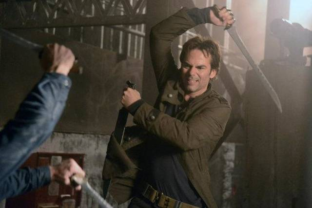 "REVOLUTION -- ""Nobody's Fault But Mine"" Episode 110 -- Pictured: Billy Burke as Miles Matheson -- (Photo by: Brownie Harris/NBC)"