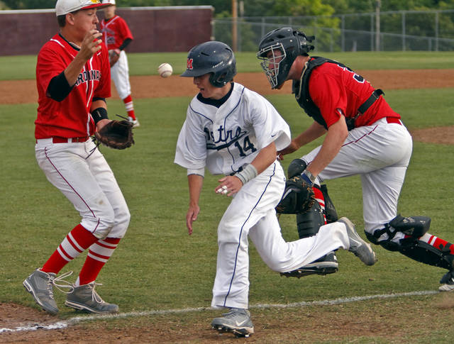Verdigris' Ryan Skalnik, left, and Cody Armbrister miss the forced out on Metro Christian's Justin Harrell (14) during the 3A State Championship baseball game at Edmond Memorial High School on Saturday,  May 12, 2012, in Edmond, Oklahoma. Photo by Chris Landsberger, The Oklahoman