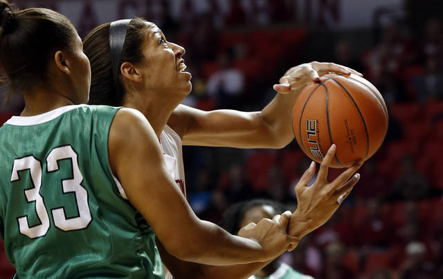 Oklahoma's Nicole Griffin (4) shoots and is fouled by North Texas' Alexis Hyder (33) as the University of Oklahoma Sooners (OU) play the North Texas Mean Green in NCAA, women's college basketball at The Lloyd Noble Center on Thursday, Dec. 6, 2012  in Norman, Okla. Photo by Steve Sisney, The Oklahoman