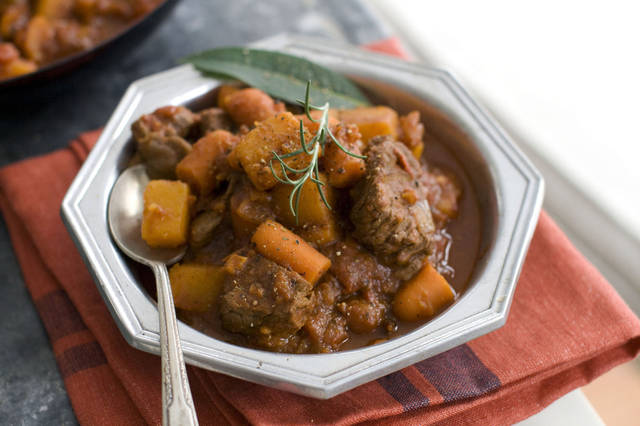 In this image taken on September 10, 2012, Speedy Beef and Butternut Stew is shown in Concord, N.H. (AP Photo/Matthew Mead) ORG XMIT: NYLS616