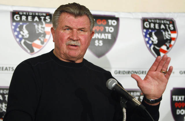 FILE - In this Oct. 27, 2009 file photo, former Chicago Bears coach Mike Ditka speaks at a news conference in Chicago. ESPN producer Seth Markman says Ditka suffered a minor stroke Friday, Nov. 16, 2012. (AP Photo/Kiichiro Sato, File)
