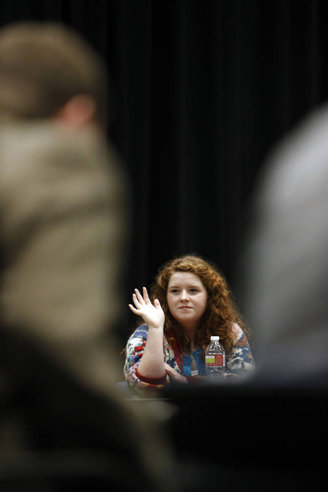 Norman High School student Marita Ellis asks a question of State School Superintendent Janet Barresi as she meets for lunch with about 20 Norman High and Norman North High School students as part of her Raise the Grade tour on Friday, Feb. 8, 2013 in Norman, Okla.  Photo by Steve Sisney, The Oklahoman