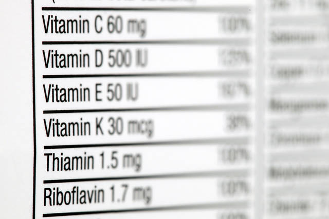 "The nutritional label of a box of multivitamins is photographed in Philadelphia on Thursday, Oct. 13, 2011. Two studies released in Oct. 2011 raised gnawing worries about the safety of vitamin supplements and a host of questions. Vitamins have long had a ""health halo"" - many people think they won't hurt and at worst might be unnecessary. The industry calls them an insurance policy against bad eating. But our foods increasingly are pumped full of them - even junk foods and drinks often are fortified with nutrients to give them a healthier profile - so the risk is rising that we're getting too much. Add a supplement and you may exceed the upper limit. (AP Photo/Matt Rourke)"