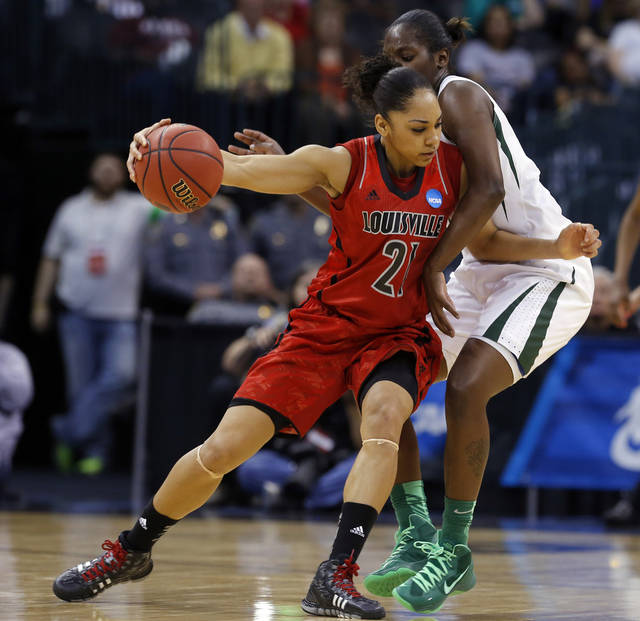 Louisville's Bria Smith (21) tries to get by Baylo's Kimetria Hayden (1) during college basketball game between Baylor University and the Louisville at the Oklahoma City Regional for the NCAA women's college basketball tournament at Chesapeake Energy Arena in Oklahoma City, Sunday, March 31, 2013. Photo by Sarah Phipps, The Oklahoman
