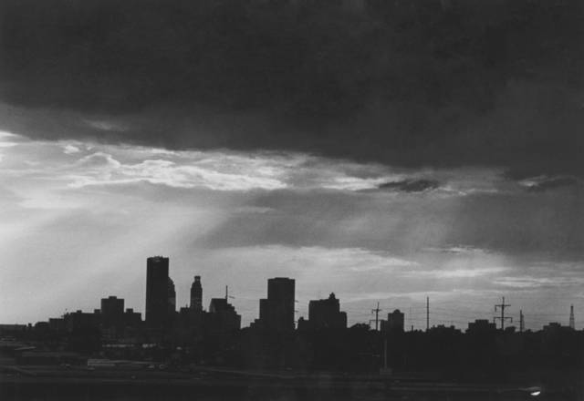 OKLAHOMA CITY / SKY LINE / OKLAHOMA:  Looking west from I-35.  Staff photo by J. Don Cook.  Photo undated and unpublished.  Photo arrived in library 06/27/1979.