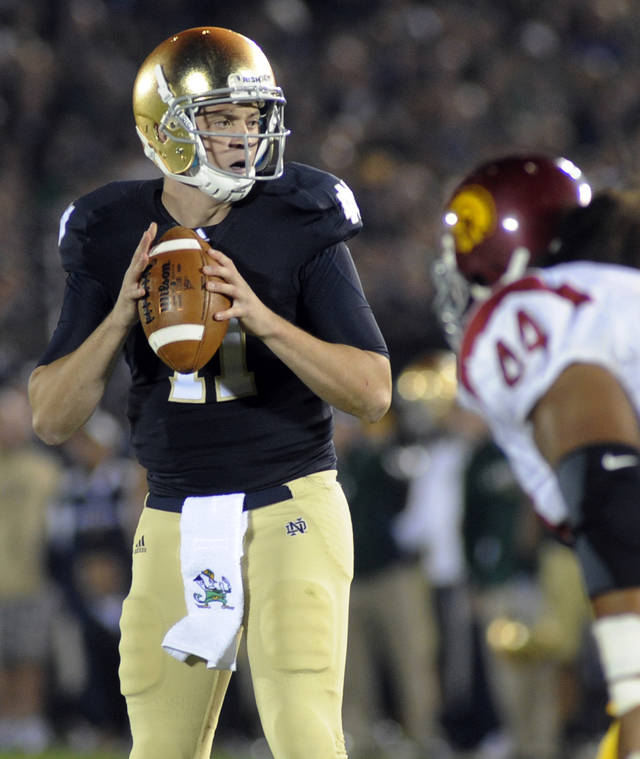 Notre Dame quarterback Tommy Rees gets ready to throw a pass in the first half of an NCAA college football game against Southern California in South Bend, Ind., Saturday, Oct. 22, 2011.  (AP Photo/Joe Raymond) ORG XMIT: INJR111