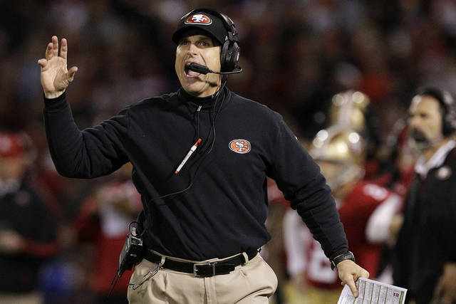 San Francisco 49ers head coach Jim Harbaugh gestures during the second half of an NFL football game against the Chicago Bears in San Francisco, Monday, Nov. 19, 2012. (AP Photo/Tony Avelar)