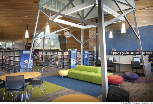 An oil derrick theme is part of the children's area at Patience S. Latting Northwest Library, 5600 NW 122. LWPB Architecture did the design. <strong> - PROVIDED BY JOSEPH MILLS PHOTOGR</strong>
