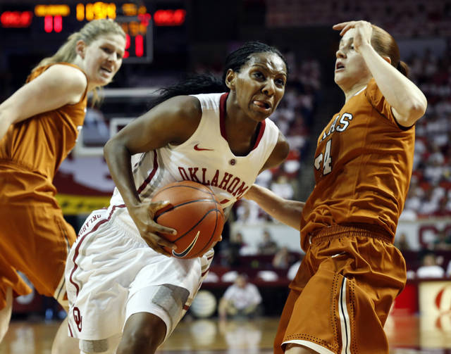 Oklahoma Sooners' Sharane Campbell (24) drives past Texas Longhorn's Chassidy Fussell (24) as the University of Oklahoma Sooners (OU) play the University of Texas (UT) Longhorns in NCAA, women's college basketball at The Lloyd Noble Center on Saturday, Jan. 19, 2013 in Norman, Okla. Photo by Steve Sisney, The Oklahoman