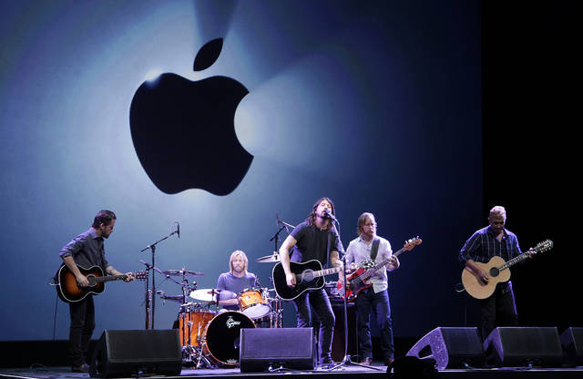 The Foo Fighters perform during an Apple event in San Francisco, Wednesday, Sept. 12, 2012. (AP Photo/Jeff Chiu)