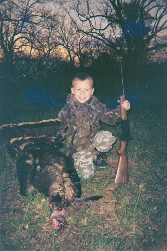 Riley Osborne, 5, harvested this turkey April 11, with his single-shot 410 while hunting with his dad, Ronnie.  The turkey weighed 19 1/2 pounds with a 9 inch beard and 1 - inch spurs.