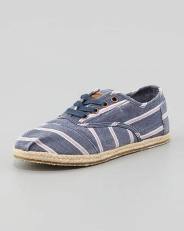 Toms Cordones canvas navy and white stripe, $69, at Neiman Marcus.