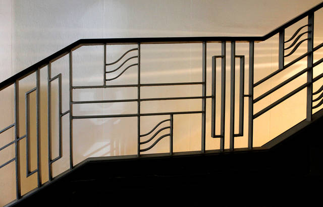Art-deco influence can be seen in the ornamental handrails that lead to the Mezzanine Level of the Civic Center Music Hall in downtown Oklahoma City on Feb. 22,  2012.    Photo by Jim Beckel, The Oklahoman Archives <strong>JIM BECKEL - THE OKLAHOMAN</strong>