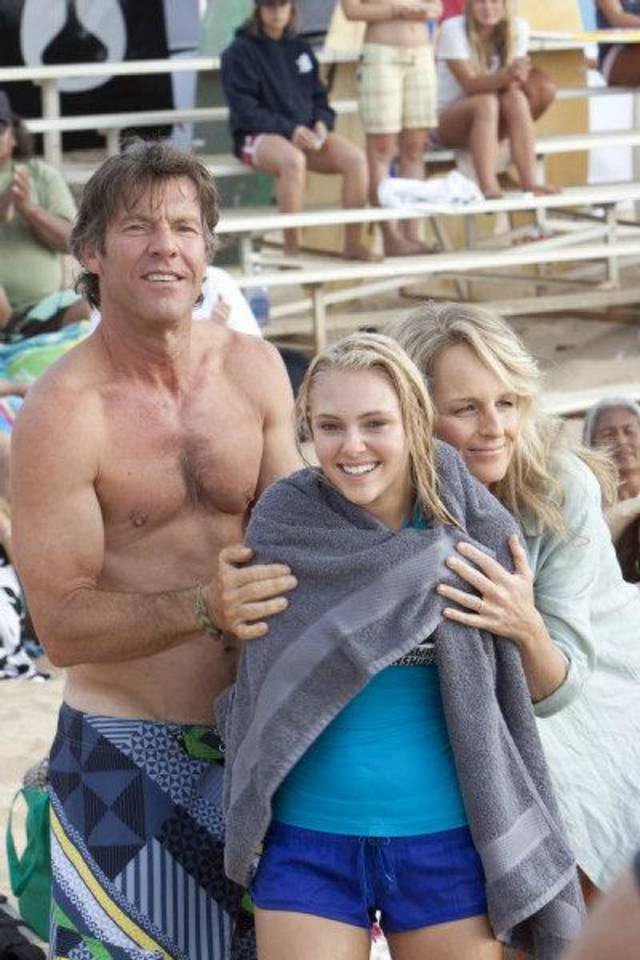 "Dennis Quaid, AnnaSophia Robb and Helen Hunt share a scene in the new movie ""Soul Surfer."" FilmDistrict photo. <strong></strong>"