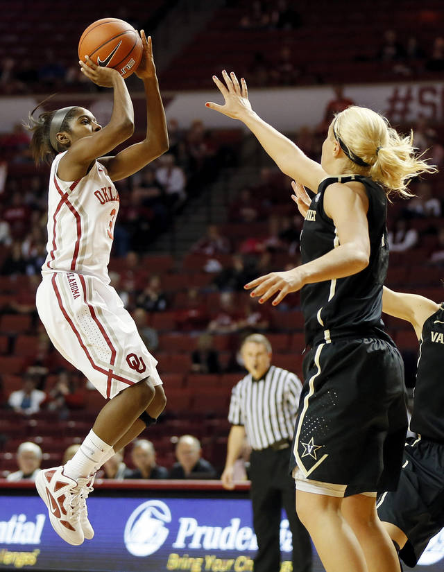 OU's Aaryn Ellenberg (3) shoots against Vanderbilt's Heather Bowe (3) in the second half during a women's college basketball game between the University of Oklahoma Sooners and the Vanderbilt Commodores at Lloyd Noble Center in Norman, Okla., Sunday, Dec. 16, 2012. Vanderbilt won, 76-63. Photo by Nate Billings, The Oklahoman