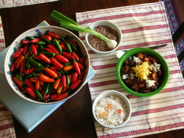 Red River Chili with pinto beans, rice and garden fresh serrano peppers. <strong>David Cathey - Food Editor</strong>