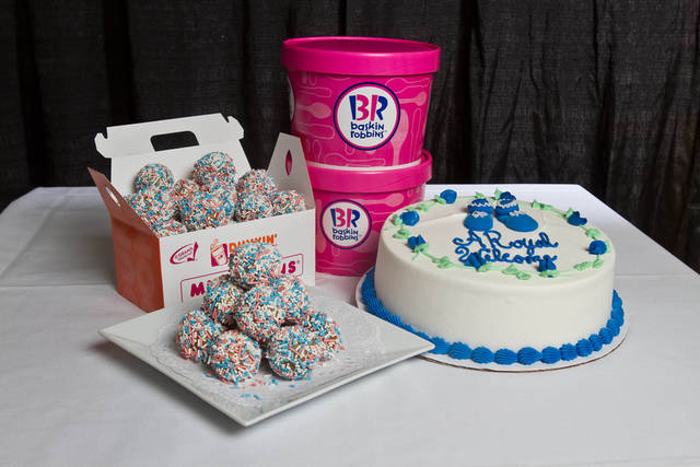 Dunkin' Donuts' Royal Munchkins and Baskin-Robbins' Baby Shower Cake.  (PRNewsFoto/Dunkin' Brands)