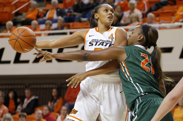 Oklahoma State's Kendra Suttles (31) shoots the ball beside Texas-Pan American's Cassandra Moody (21) during a women's college basketball game between Oklahoma State University (OSU) and the University of Texas-Pan American at Gallagher-Iba Arena in Stillwater, Okla., Tuesday, Nov. 20, 2012.  Photo by Bryan Terry, The Oklahoman