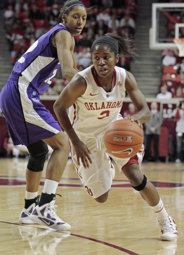 Oklahoma Sooners' Aaryn Ellenberg (3) dribbles past Delisa Gross as the University of Oklahoma (OU) Sooners play the Texas Christian University (TCU) Horned Frogs in women's college basketball at the Lloyd Noble Center on Wednesday, Dec. 28, 2011, in Norman, Okla.  