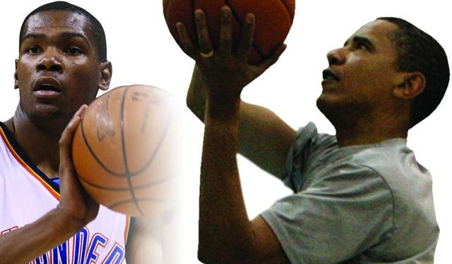 Kevin Durant, left, and Barack Obama