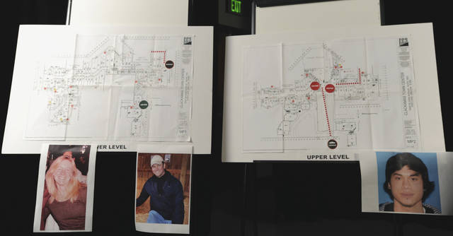 Photos of shooting victims, Cindy Yuille, left, and Steven Forsyth, center, are posted on a police mall diagram along with a photo of gunman Jacob Taylor Roberts, at a press conference Wednesday Dec. 12, 2012 about the multiple shooting on Tuesday at Clackamas Town Center Mall in Portland, Ore. (AP Photo/Greg Wahl-Stephens)