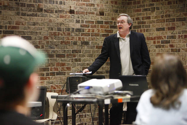 Dave Moore teaching an internet security class at the Edmond Library, Monday, March 12, 2012. Photo by David McDaniel, The Oklahoman