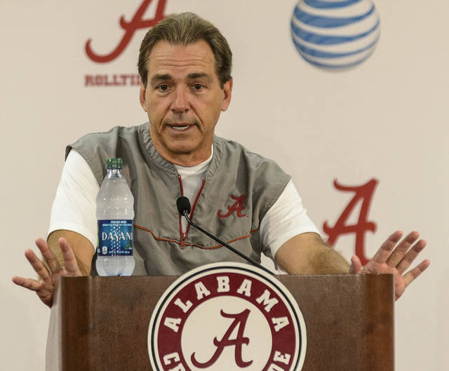 Just because Nick Saban has signed an extension with Alabama, doesn't mean Texas has ruled him out of its coaching search. (AP Photo/AL.com, Vasha Hunt)