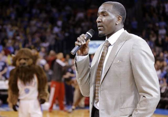 Kendrick Perkins played the role of Sam Presti for an ESPN article. / Photo by Chris Landsberger