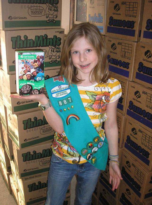 To meet her goal of selling 500 boxes of Girl Scout Cookies, Jadyn Carter of Edmond�s Troop 887 and her mom called on office buildings and fire stations.  PHOTO PROVIDED