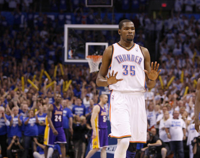 Oklahoma City's Kevin Durant (35) walks back to the bench after making a basket in the final seconds of Game 2 in the second round of the NBA playoffs between the Oklahoma City Thunder and L.A. Lakers at Chesapeake Energy Arena in Oklahoma City, Wednesday, May 16, 2012. Photo by Bryan Terry, The Oklahoman