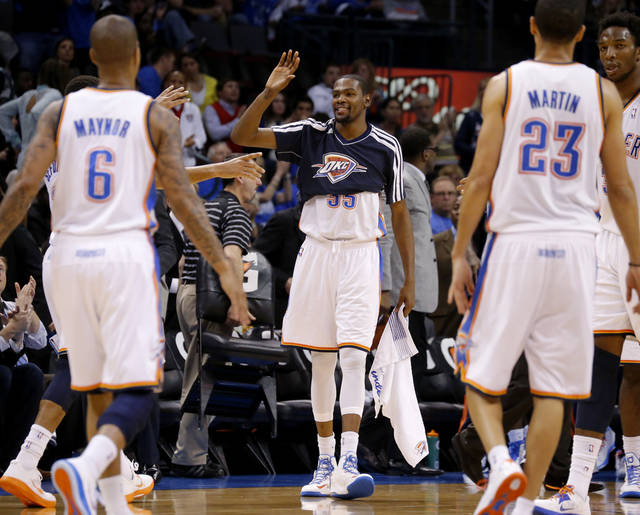 Oklahoma City's Kevin Durant (35) celebrates during an NBA basketball game between the Oklahoma City Thunder and the Sacramento Kings at Chesapeake Energy Arena in Oklahoma City, Friday, Dec. 14, 2012. Photo by Bryan Terry, The Oklahoman