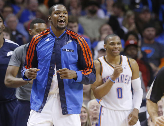 Oklahoma City Thunder forward Kevin Durant, left, and guard Russell Westbrook are among the NBA's best selling jerseys again. (AP Photo/Sue Ogrocki)