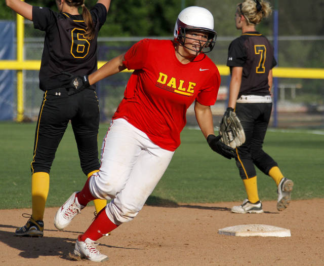 Dale's Samantha Barry rounds second in the fourth inning of the Class 4A slowpitch softball state tournament championship game between Dale and Latta at ASA Hall of Fame Stadium in Oklahoma City, Tuesday, May 1, 2012. Photo by Bryan Terry, The Oklahoman