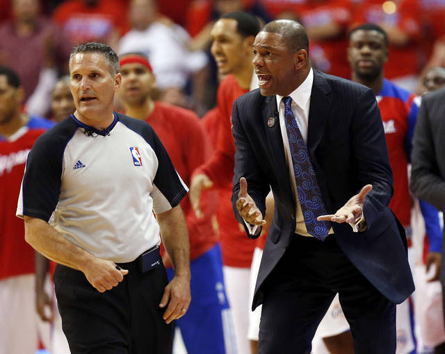 Los Angeles coach Doc Rivers reacts to a call against the Clippers in the fourth quarter during Game 6 of the Western Conference semifinals in the NBA playoffs between the Oklahoma City Thunder and the Los Angeles Clippers at the Staples Center in Los Angeles, Thursday, May 15, 2014. Photo by Nate Billings, The Oklahoman