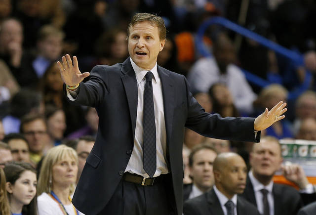 Oklahoma City coach Scott Brooks shots towards his team during an NBA basketball game between the Oklahoma City Thunder and the Portland Trail Blazers at Chesapeake Energy Arena in Oklahoma City on Dec. 31. Photo by Bryan Terry, The Oklahoman