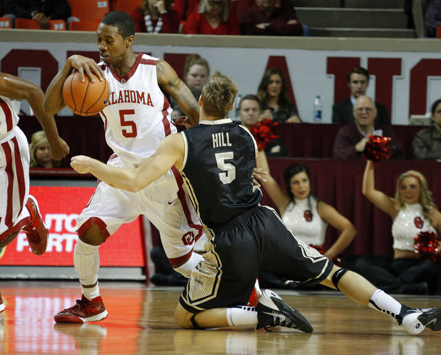 Oklahoma's Je'lon Hornbeak will miss four to six weeks with a broken foot. Photo by Bryan Terry, The Oklahoman