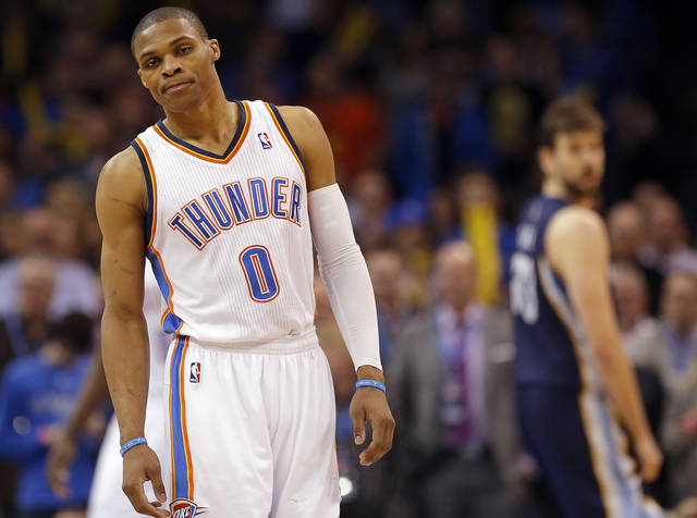 Oklahoma City's Russell Westbrook (0) waits for the ball to be in bounded during the NBA basketball game between the Oklahoma City Thunder and the Memphis Grizzlies at the Chesapeake Energy Arena in Oklahoma City,  Thursday, Jan. 31, 2013.Photo by Sarah Phipps, The Oklahoman