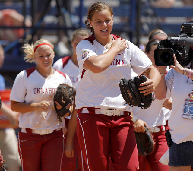 UNIVERSITY OF OKLAHOMA / OU / COLLEGE SOFTBALL: Oklahoma's Keilani Ricketts walks off the field after OU's win over South Florida in a Women's College World Series game at ASA Hall of Fame Stadium in Oklahoma City, Thursday, May 31, 2012.  Photo by Bryan Terry, The Oklahoman