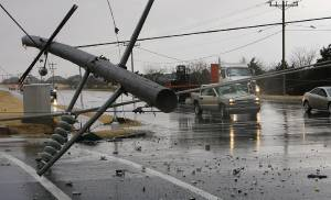 High line poles blown over on north Penn just south of 150 in Oklahoma City, Tuesday , February 10, 2009.  By David McDaniel, The Oklahoman.