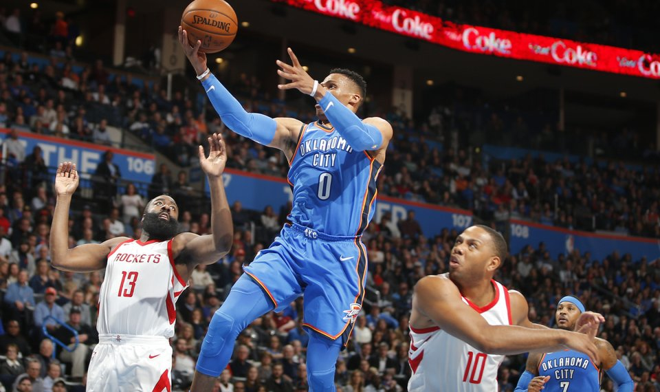 afda2846d Oklahoma City s Russell Westbrook goes to the basket between Houston s  James Harden (13) and