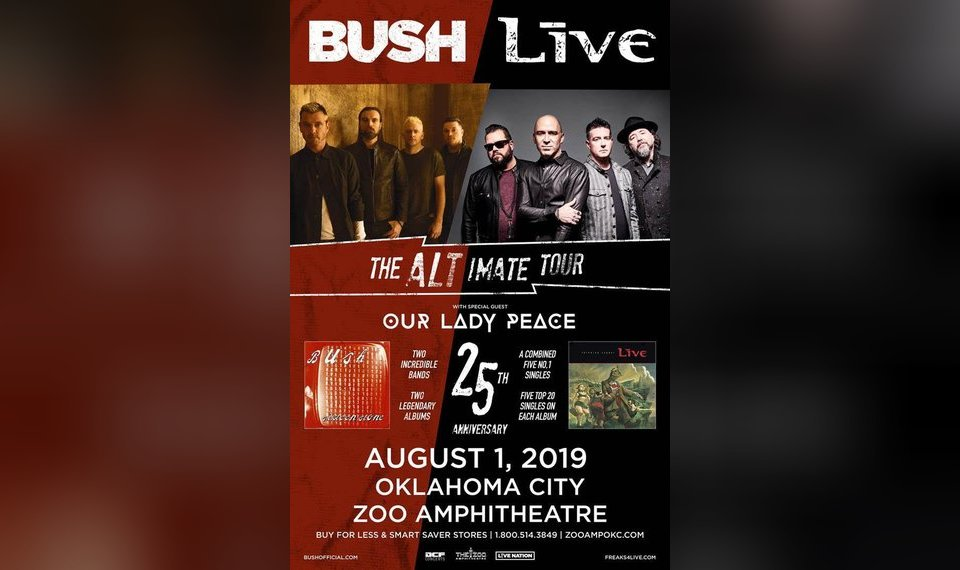 What to do in Oklahoma on Aug  1, 2019: Hear Live and Bush at OKC's