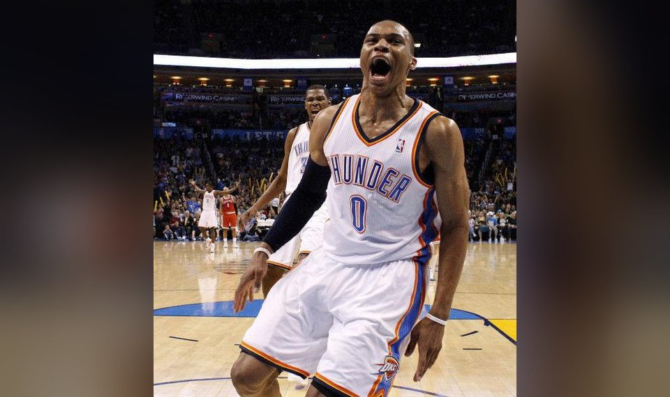 d6c07eeee16 Oklahoma City s Russell Westbrook (0) and Oklahoma City s Kevin Durant (35)  react