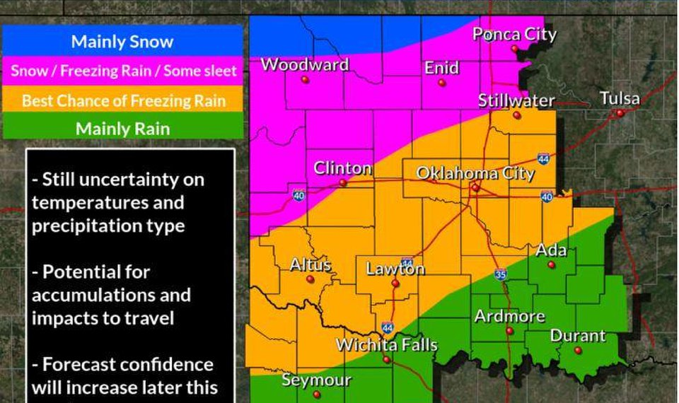 Oklahoma Weather Map Winter storm watch issued for Friday and Saturday in Oklahoma