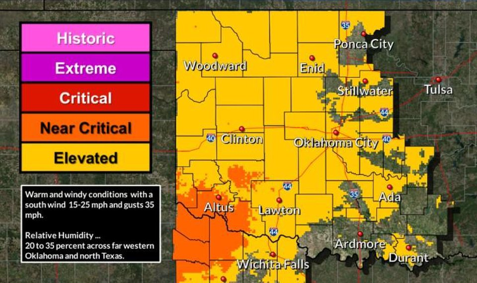 Windy, warm weather Wednesday to elevate Oklahoma wildfire danger