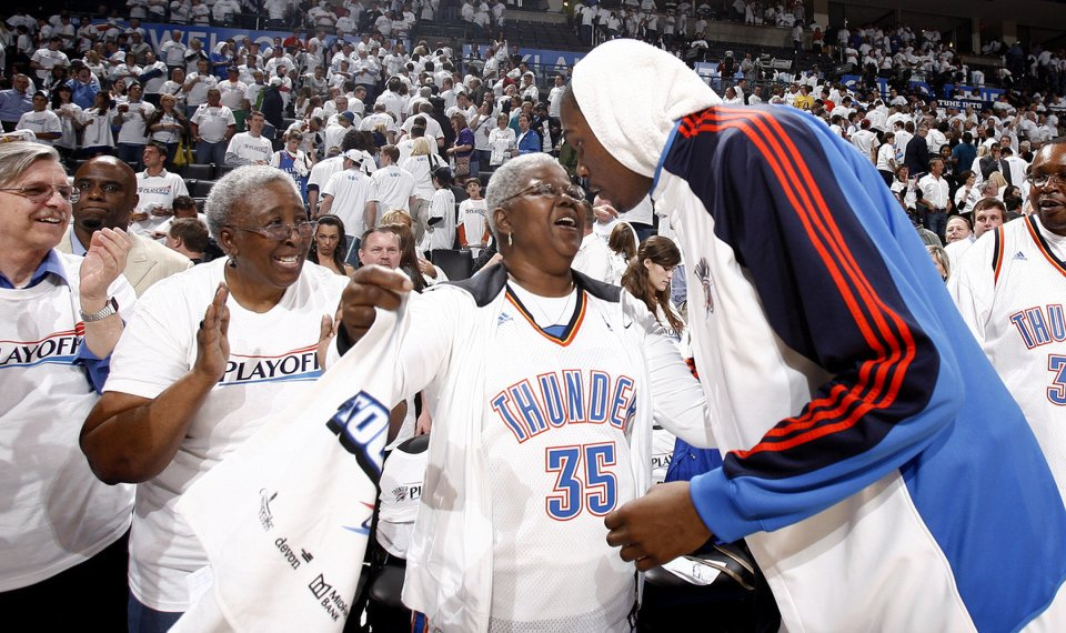 f726f5b0aba9 THE SON   Shown here celebrating with his grandmother following the  Thunder s Game 4 victory of