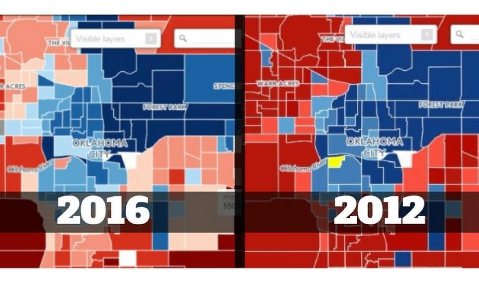MAP: Comparing 2016, 2012 presidential precinct-level ... on oklahoma national map, oklahoma town map, little axe oklahoma map, oklahoma house district map, oklahoma street map, oklahoma state map, oklahoma township map, oklahoma voting districts map, oklahoma home, oklahoma congressional map, oklahoma school map, oklahoma province map, oklahoma marriage license, oklahoma rural water district map, oklahoma hospital map, oklahoma legislature map, oklahoma missouri map, ok school districts map, oklahoma legislative district maps, oklahoma territory map,